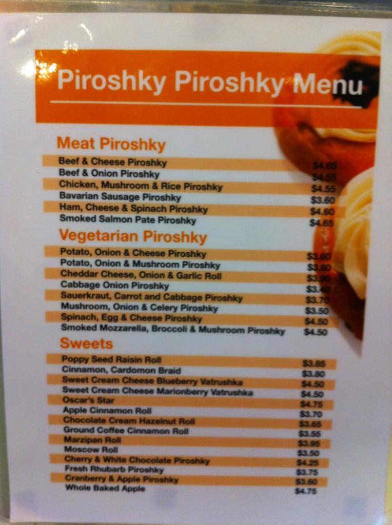 Piroshky Piroshky menu