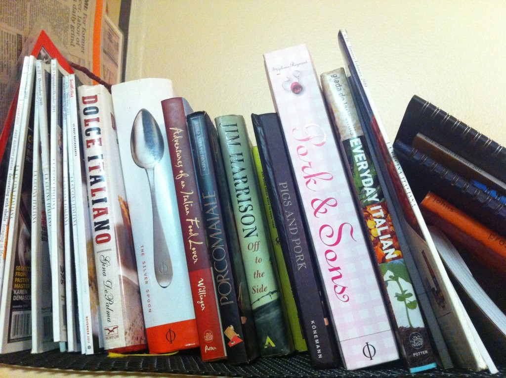 Cookbooks at Salumi in Seattle