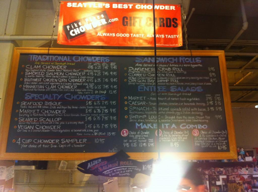Pike Place Chowder Menu