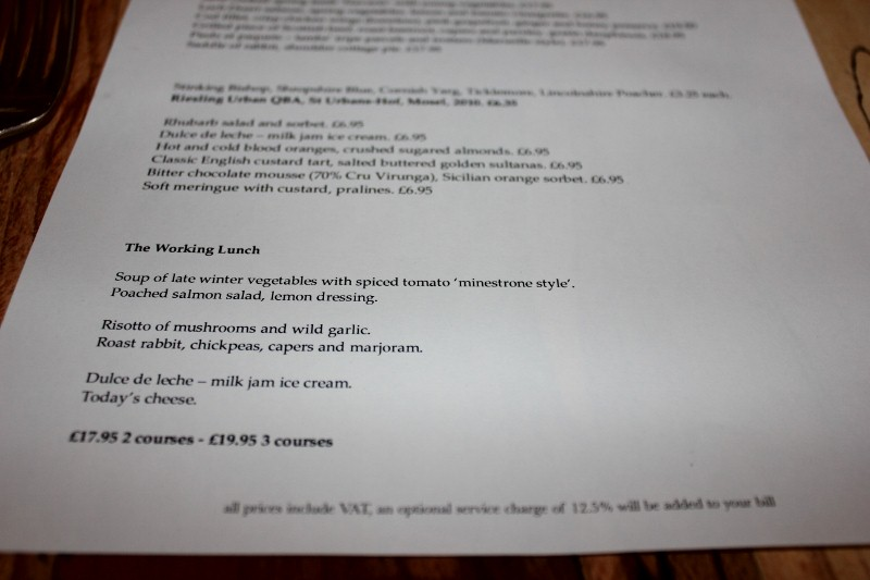 The Working Lunch Menu at Arbutus