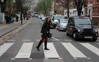 Annette White walking across Abbey Road in London