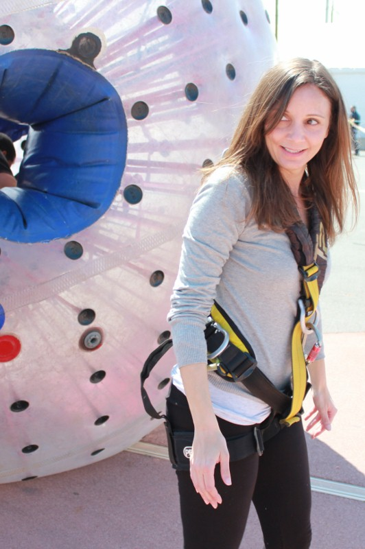 Annette White winded after zorbing