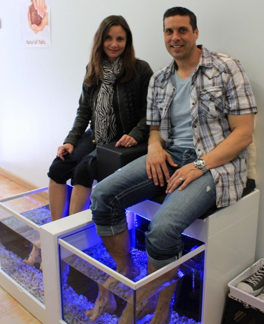 Annette White getting Fish Pedicures