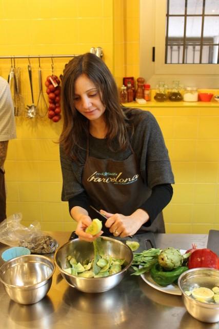 Annette White Prepping Paella