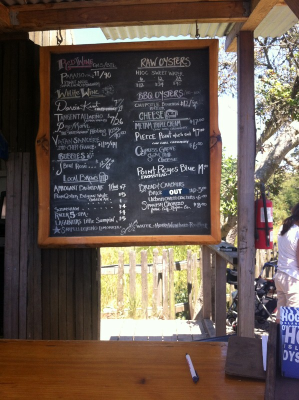 Menu at Hog Island Oyster Farm in Tomales Bay