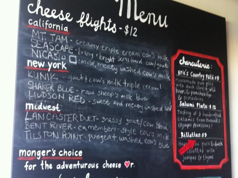 Mission Cheese Shop Menu