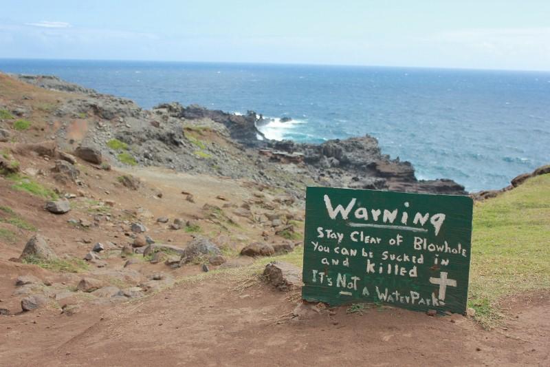 Warning Sign at Nakalele Blowhole