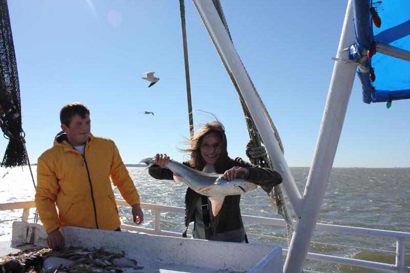Annette White Holding Shark