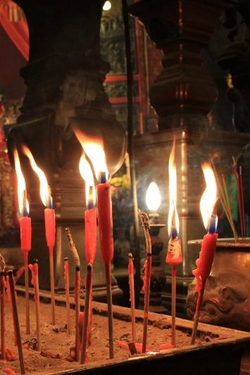 Burning Incense at Man Mo Temple