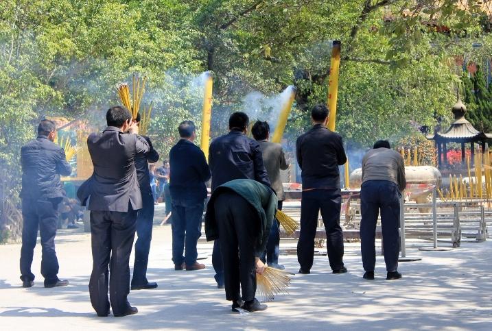 Burning Incense at Po Lin Monastery