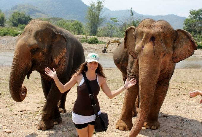 Annette White with Elephants in Thailand