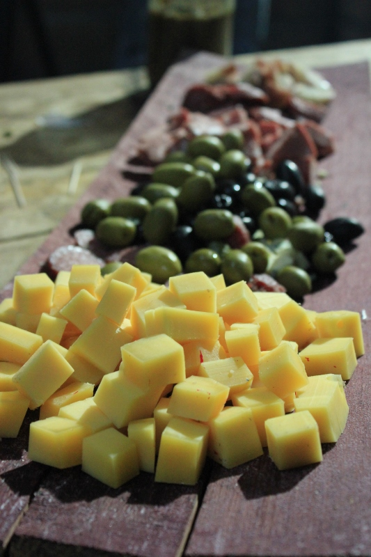 cheese and olive plate in Argentina