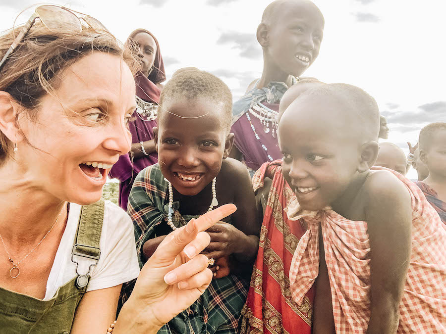 Annette White with The Maasai People of Tanzania