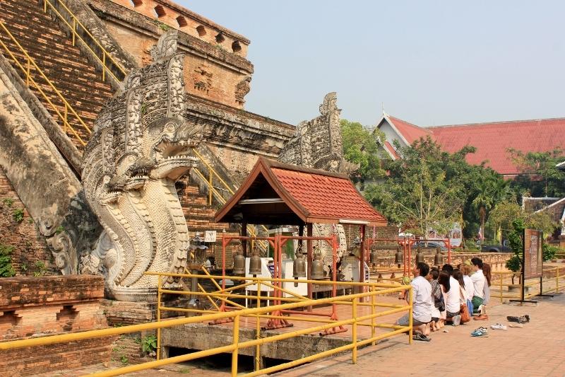 Prayers at Wat Chedi Luang Chiang Mai Thailand