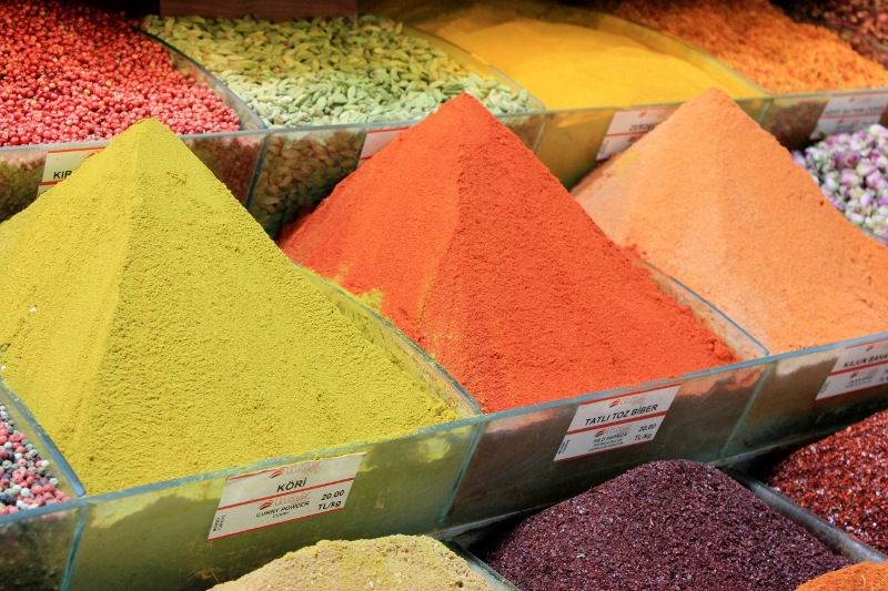 Spices at the Spice Bazaar in Turkey