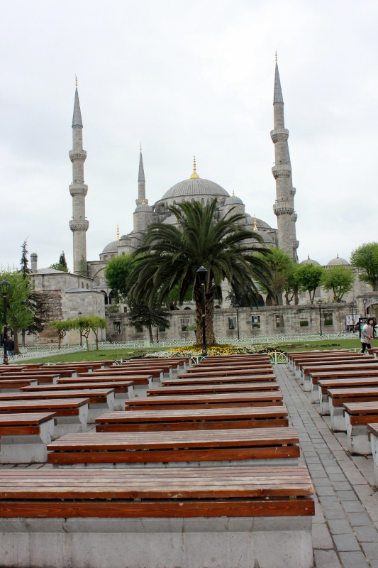 Benches in Front of Blue Mosque in Istanbul