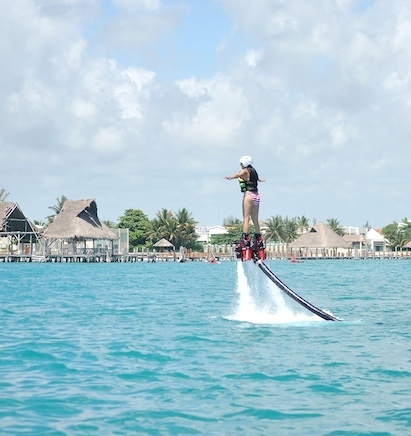 Flyboarding Water Jetpack in Cancun Mexico