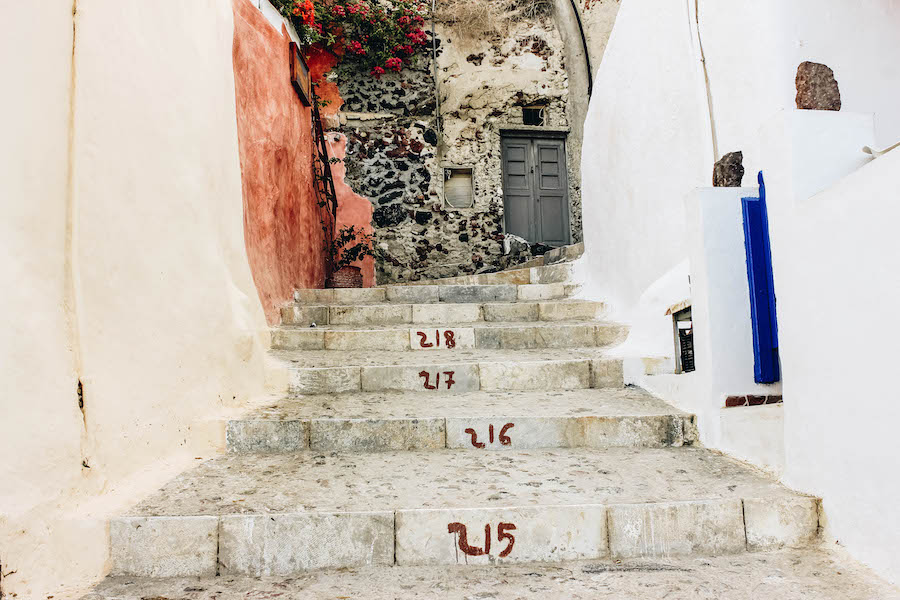Steps From Oia to Amoudi Bay in Santorini, Greece
