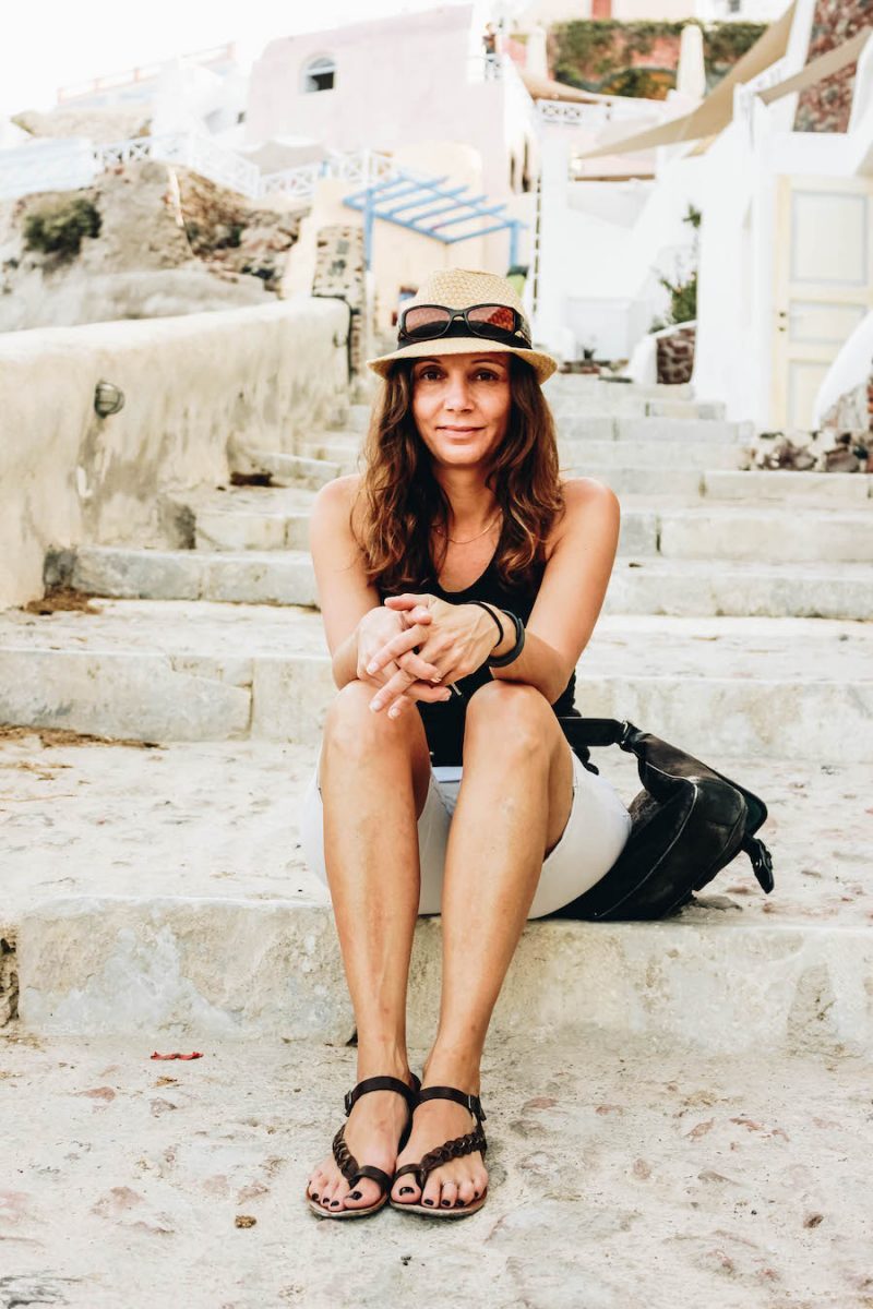 Annette White on the Steps From Oia to Amoudi Bay in Santorini, Greece