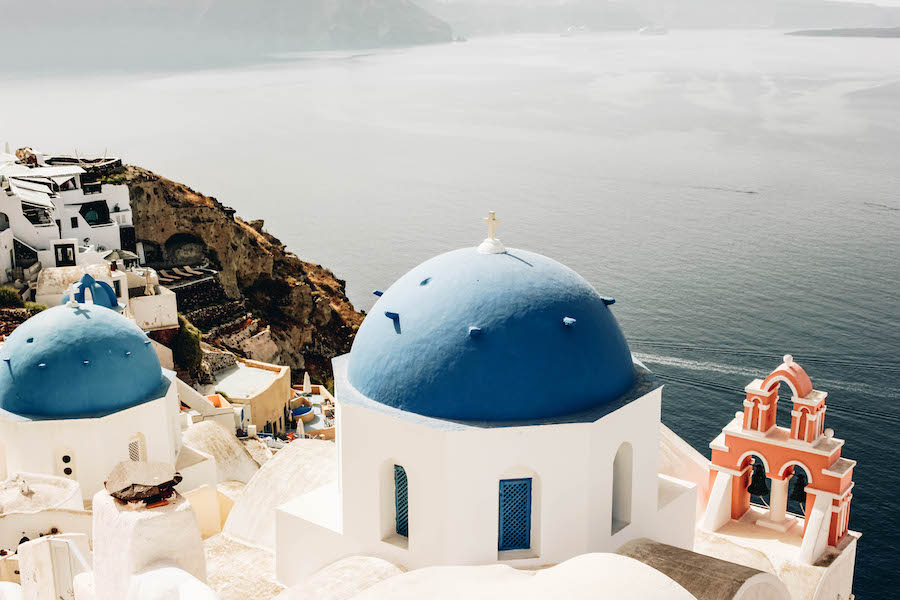 Blue-Domed Roofs in Santorini Greece