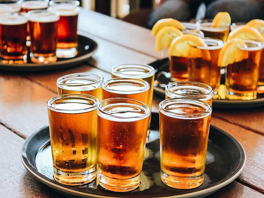 Glasses of beers for beer tasting