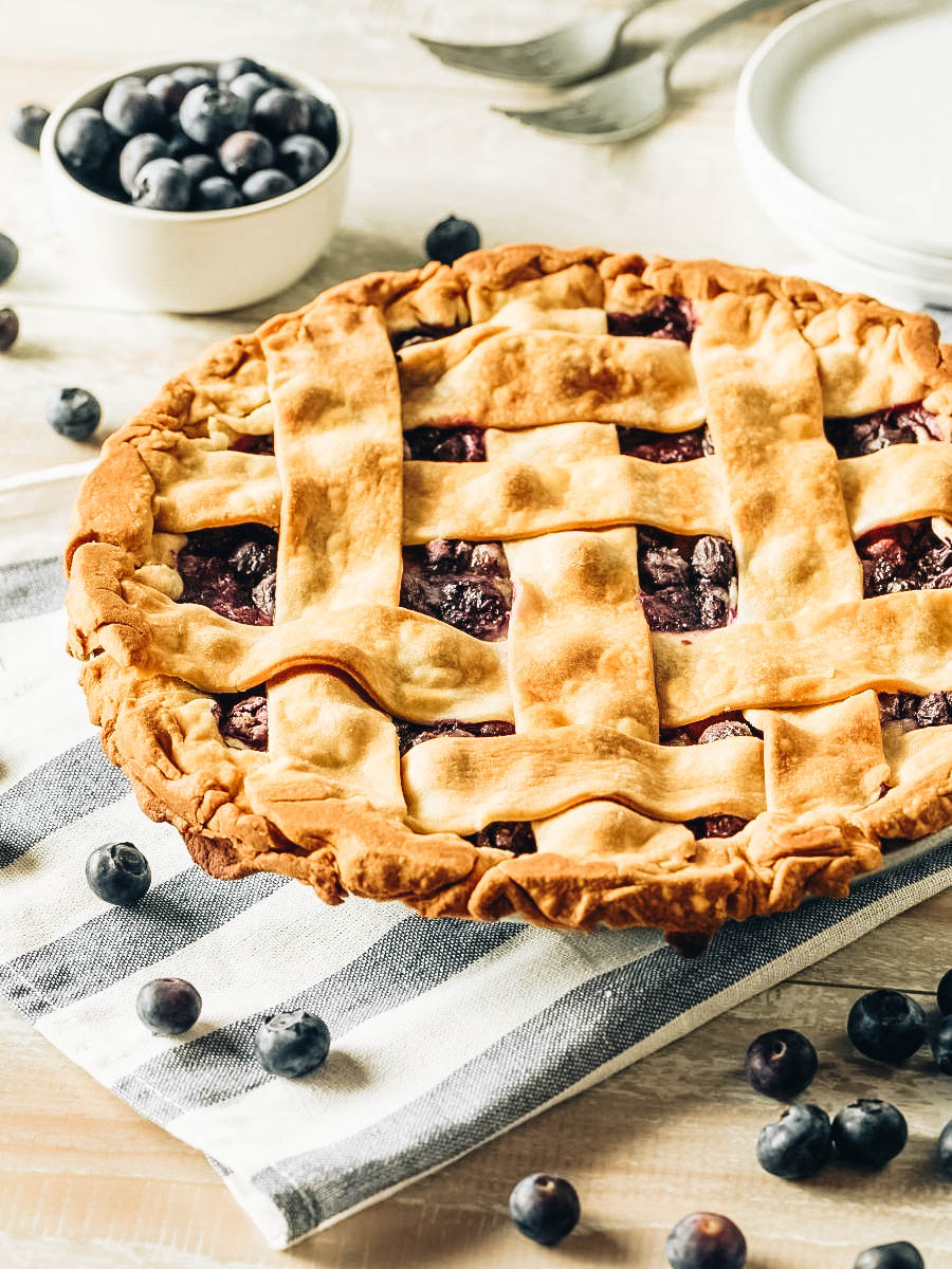 A freshly baked blueberry pie