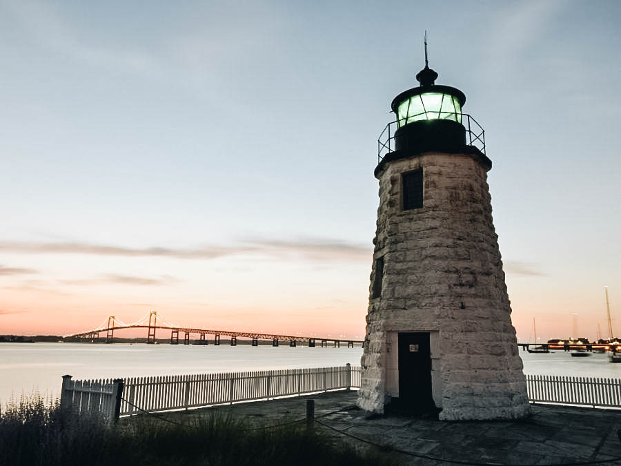Goat Island Lighthouse on sunset