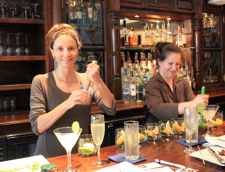 Annette White taking a cocktail class in Kennebunkport Maine