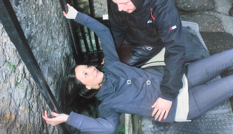 Annette White Kissing the Blarney Stone in Ireland