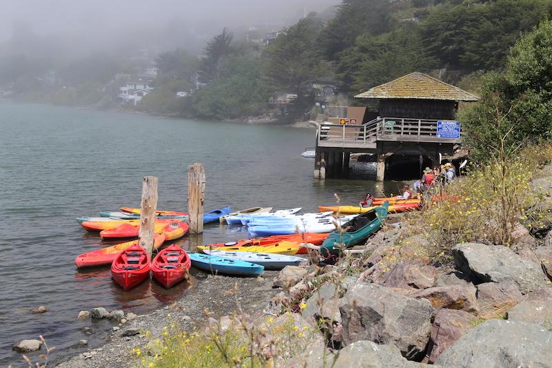 Kayaks in Jenner, Northern California