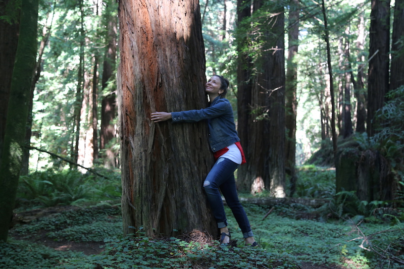 Annette White Hugging a Redwood in Mendocino County, Northern California