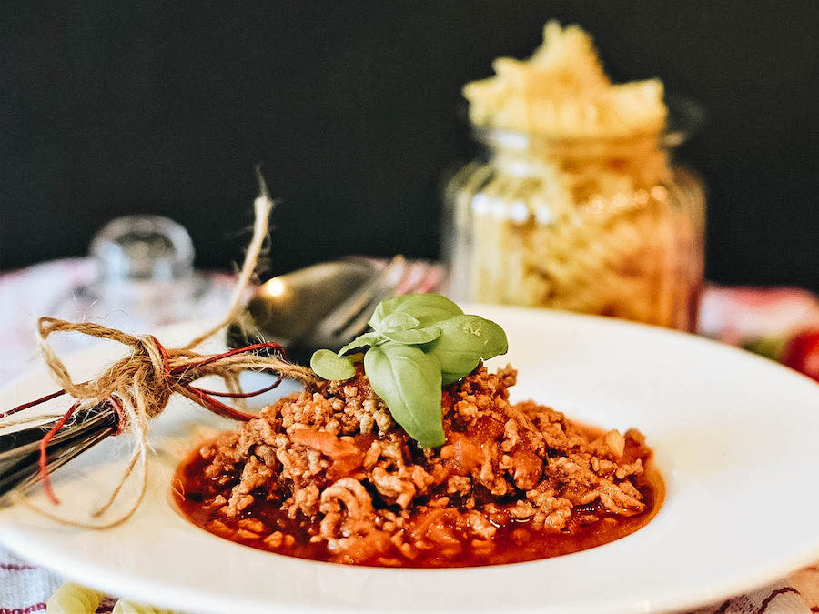 Bowl of Italian Bolognese Pasta