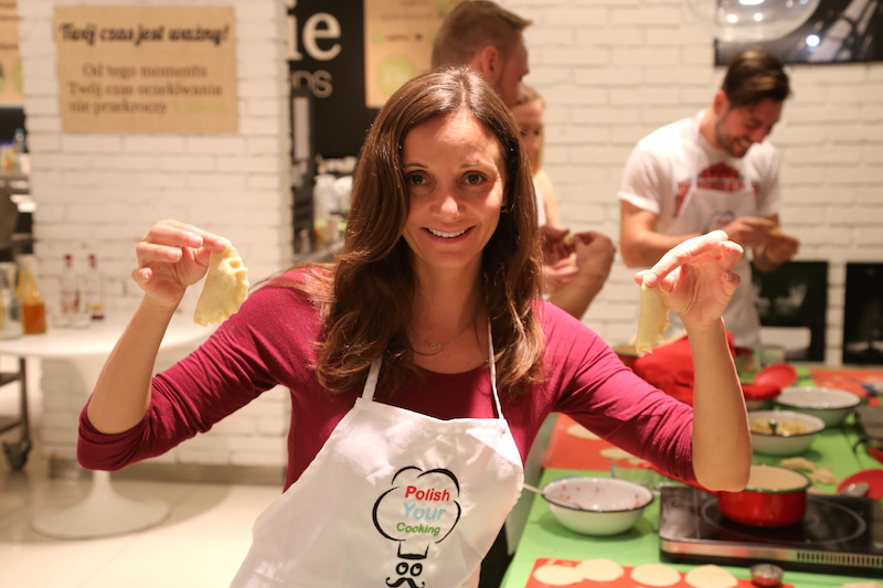 Annette White Making Pierogi at a Polish Cooking Class in Warsaw, Poland