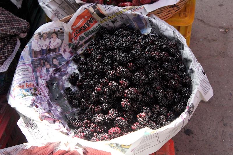 Fresh berries for sale at Chichi Market in Chichicastenango Guatemala