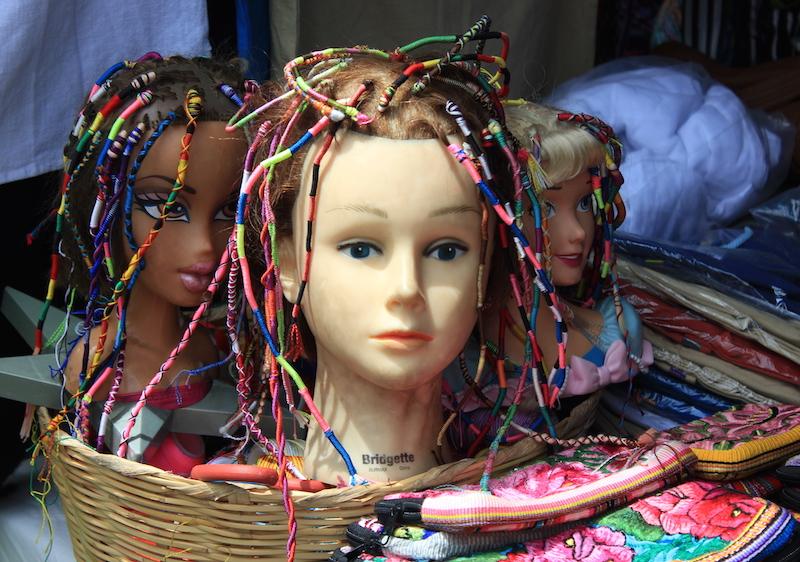 Braids for sale at Chichi Market in Chichicastenango Guatemala