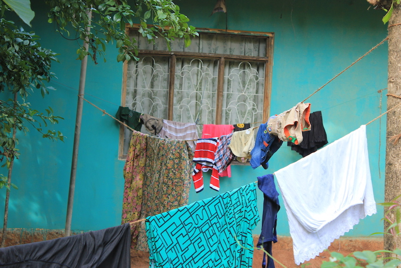 Hanging laundry on the Hiriwaduna Village Trek in Sri Lanka