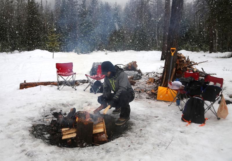 Campfire while Dogsledding in Bigfork, Montana