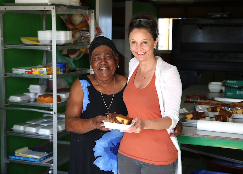 Annette White with Mama at Mom's Bakery on Exuma Island