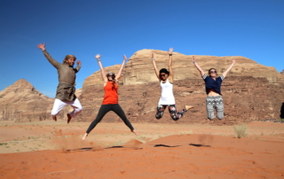 Jumping shot in Wadi Rum Jordan