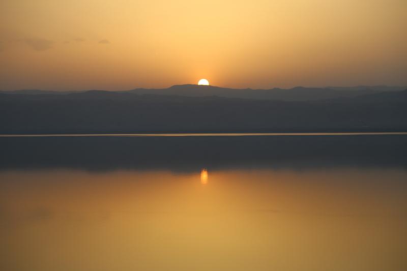 Sunset over The Dead Sea in Jordan