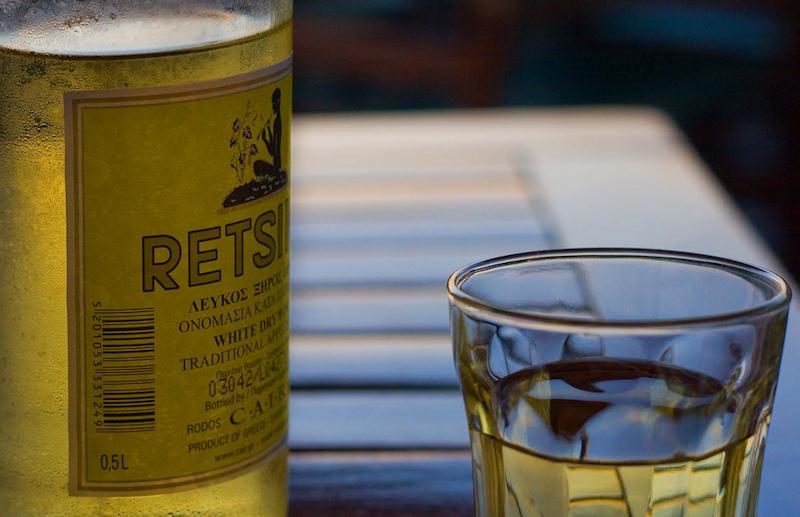 Retsina wine in Greece