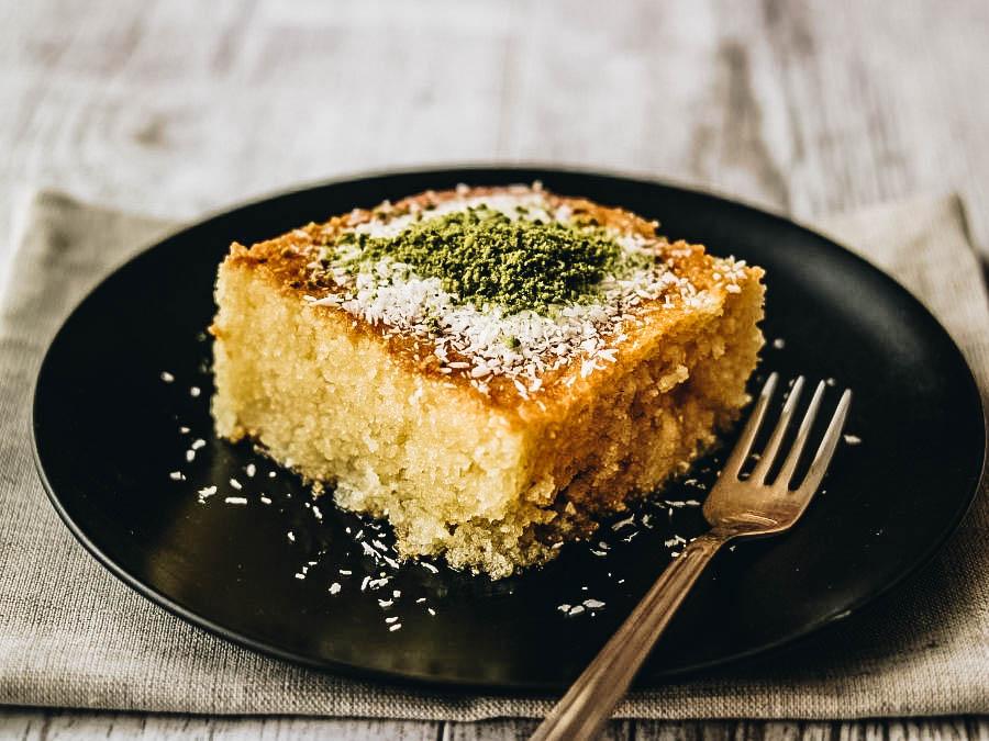 A sweet yellow cake called Revani