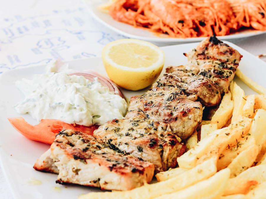 A popular Greek fast food Souvlaki
