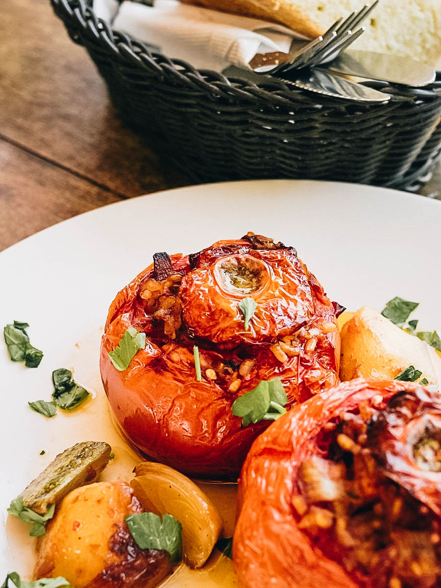 A classic dish of summer vegetables stuffed with rice Yemista