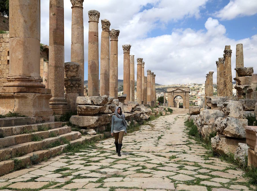 Annette White at Jerash Archaeological Site in Jordan