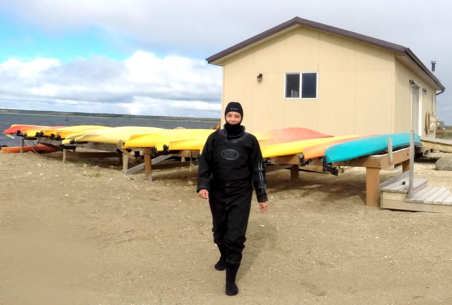 Annette White in a dry suit before snorkeling with beluga whales in Manitoba