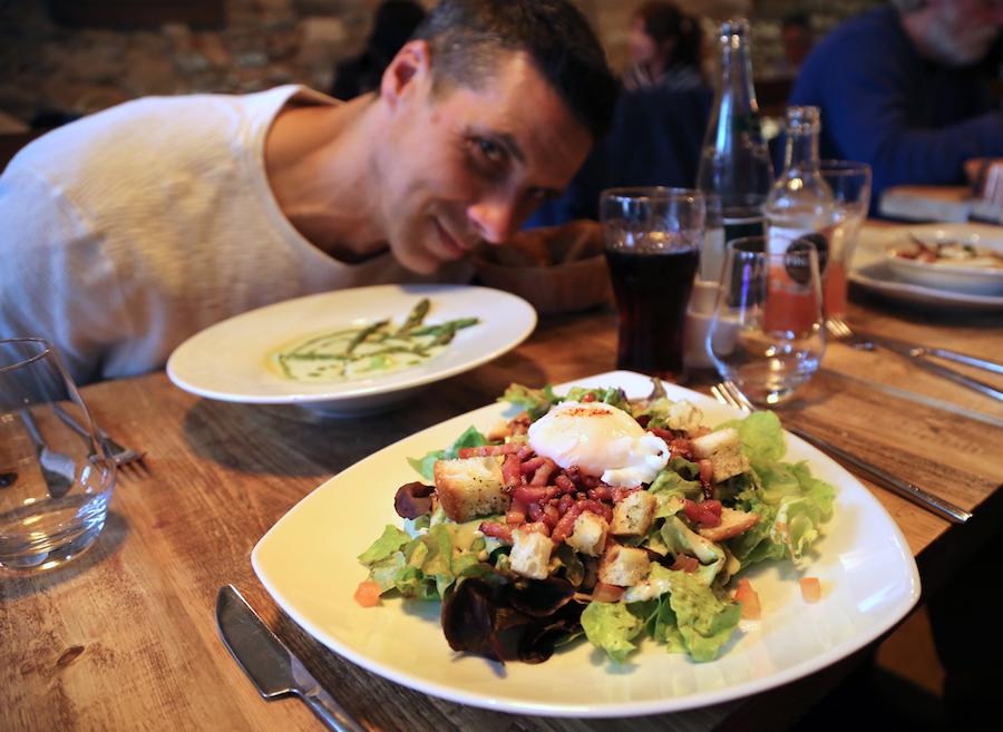 A traditional lyonnaise salad in Lyon France