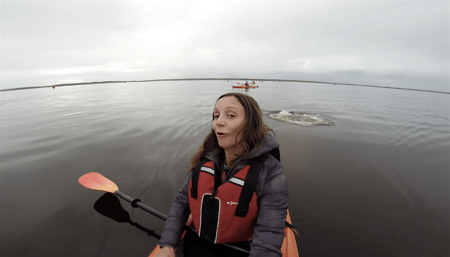 Annette White Kayaking with Beluga Whales in Churchill, Manitoba, Canada