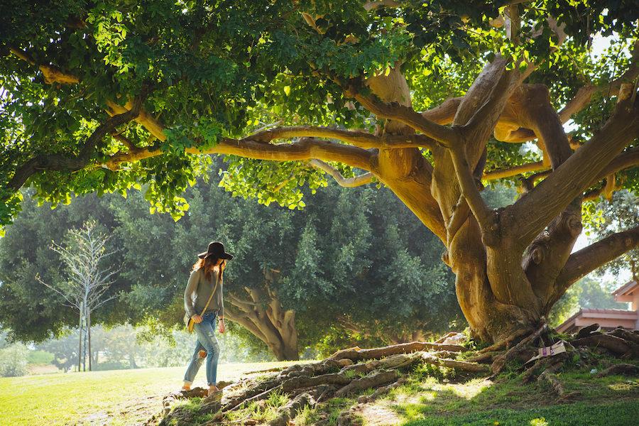 Girl walking through the woods
