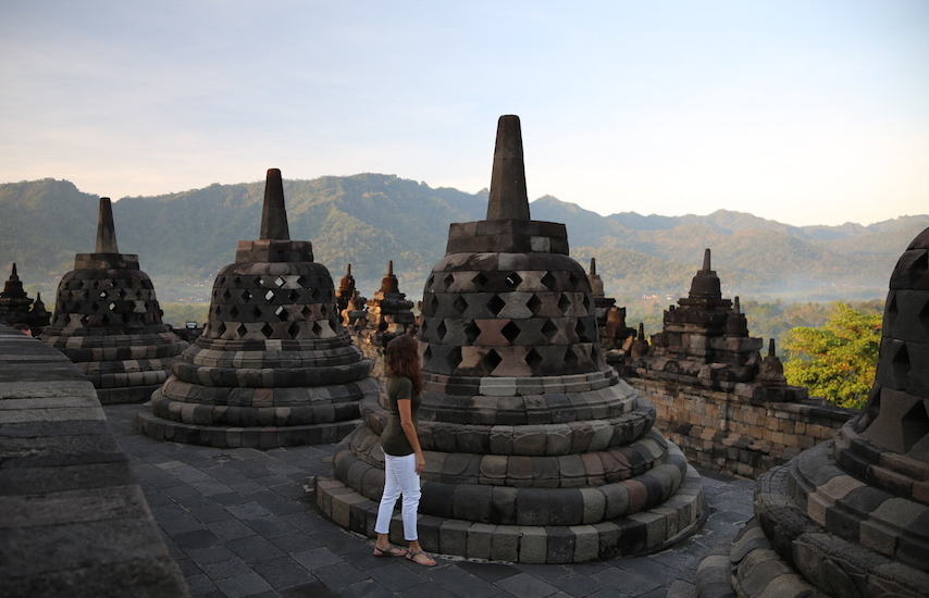 Annette White at Borobudur Temple Yogyakarta Indonesia: Top Historical Places: 10 UNESCO World Heritage Sites Around the World